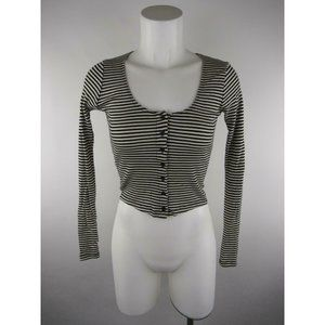 Brandy Melville One Size White Striped Crop Top